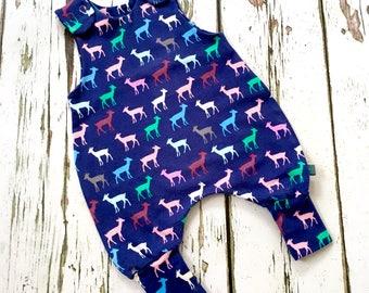 NEW deers Baby romper, baby dungarees, deers, stags, toddler romper, toddler dungarees, baby clothes, organic clothes,  dungarees