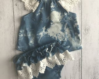 "Two Piece Baby Set - Top with lace sleeves and ruffle pants ""Denim Love"" - Sizes 000, 00, 0, 1, 2"
