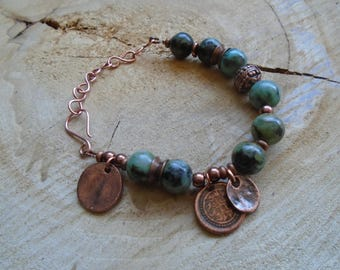 Bracelet Turquoise copper and African / / Bohemian / ethnic / nature jewelry