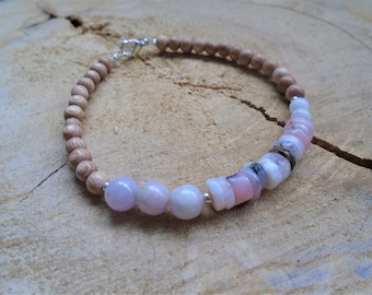 Pink Opal, Kunzite, pink and silver bracelet / / nature jewelry
