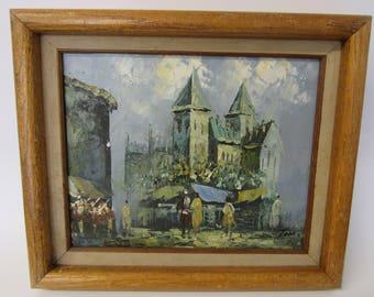 Mid Century Original Oil Painting Street Scene by Tom
