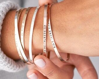 Cuff Bracelet Personalized, Customized Stacking Bracelet, Personalized Bar Bracelet Cuff, Sterling Silver Bracelet, Gift for Mom