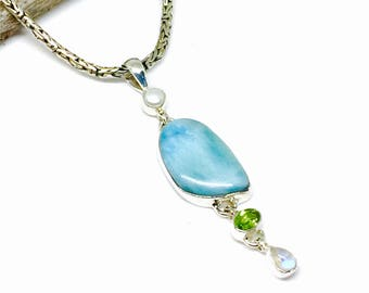 Larimar, peridot, moonstone and pearl Multi stone pendant, necklaces set in sterling silver 92.5. Genuine authentic stones. Length-2.5 inch.