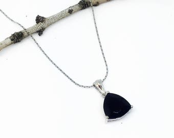 Black spinel Pendant/ necklaces set in Sterling silver 925. Natural authentic trillion cut black spinel. Length - .90 inch