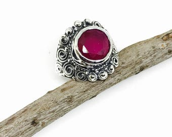 Ruby ring in sterling silver. Size-7. Genuine natural ruby stone. Simple elegant style. July birthstone.