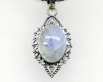 10% Rainbow moonstone, Labradorite pendant set in sterling silver 925. Natural authentic stones. Length-1.79 inch.