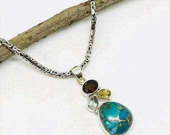 10% Mojave blue copper turquoise , citrine,smokey topaz, bluetopaz multistone sterling silver 925 pendant, necklaces .All natural gemstones.