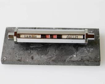 perpetual calendar french vintage retro midcentury modern MCM desk display grey marble base chrome office made in France c.1950s Gold Starry