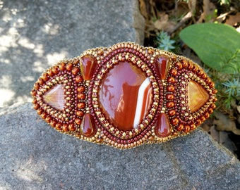 Hair clip with stones Gemstone hair clip Hair barrette women Beaded embroidery clip Brown Gold barrette Embroidered jewelry for hair
