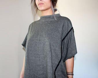 Bat sleeves sweater , short sleeves , half season , slate grey , unique size