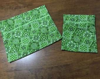 GREEN BANDANA Zippered Pouches (Unlined)