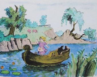 Snow Queen - Hans Christian Andersen - Artist V. Konashevich - Vintage Soviet Postcard, 1965. Gerda Boat River Fairy tale Print