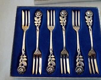 six cake forks Hildesheimer Rose 100er