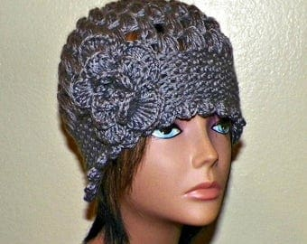 On Sale- Dark Gray Cloche Hat Flapper Womens Downton Abby Freeform Beanie  Crochet Gatsby Bucket 1920s Style
