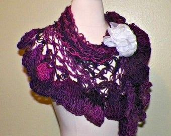 On Sale- Purple Triangle Shawl Scarf Bridal Crochet Lace  Wedding Wrap Lacy Summer Wrap With  Brooch