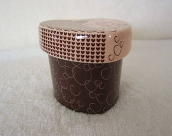 Partylite Trinket Box/Votive Candle Holder-chocolate brown and pink,embellished with hearts on lid & and bottom piece. Sweet Valentines gift