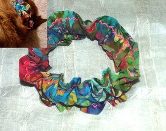 GORGEOUS Colorful Batik (Scrunchie) Dog/Cat Collar Cover Small, Medium & Large
