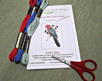 Australian fauna cross stitch chart - King Parrot.  PDF instant download