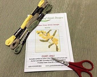 Australian flora cross stitch chart - Wattle.  PDF instant download