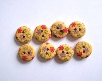 wood buttons red flower buttons pack of 8 wood buttons