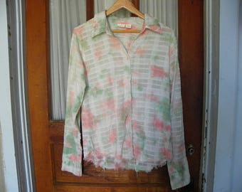 Fabric Supplies • No. 006B Upcycle Ladies Pastel Blush Pink Green White Long Sleeves Button Up Blouse | Size Large Womens Girls | India