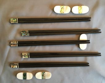 Handmade Vietnamese Ebony chopsticks with Green Abolone shell accents and chopstick rests. Set of 5