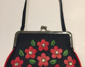 Jean bag from Pimpi Smith Collections brand with painted flowers and acrylic stones