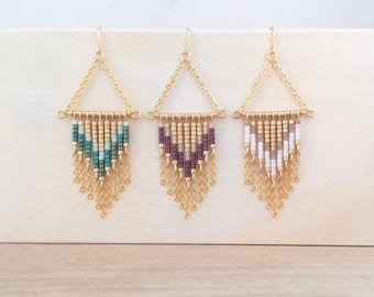 Chevron beads and small chains gold plated earrings