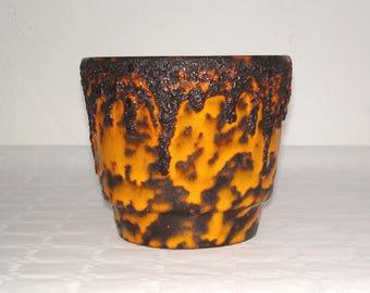 70s L Lava ceramic pot in orange