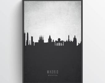 Madrid Poster, Madrid Skyline, Madrid Cityscape, Madrid Print, Madrid Art, Madrid Decor, Home Decor, Gift Idea, ESMD19P