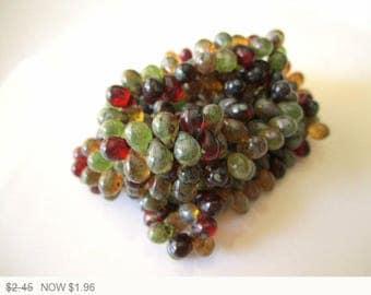 ON SALE Red Drops Picasso Glass Beads Green Teardrop Picasso Czech Glass Beads Transparent Beads Red Czech Beads 5x7mm (25 pcs) 257AV3