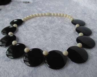 Necklace/Antique black and white lucite necklace 1950's Mad Men Style