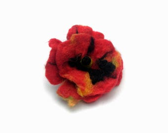Little Red Pansy Flower Brooch Hairclip Handfelted Wool Brooch Boho Hipster Naturally Made Felt Pure Merino Woollen Accessory Small Poppy
