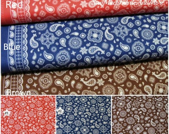 Cowboy Bandana Border Fabric~by the 1/2 yd~3 colors~cotton~Western~Riley Blake~red~blue~brown