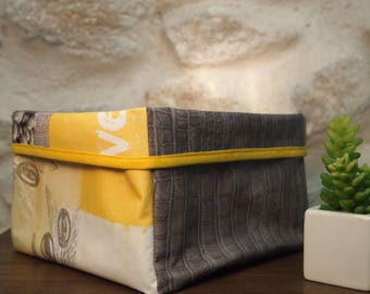 Tidy/cart in yellow and grey waxed canvas