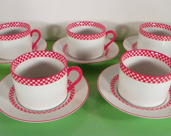 Fitz & and Floyd CHEQUERS Cup and Saucer Set (s) LOT OF 5 Japan Red Checkers