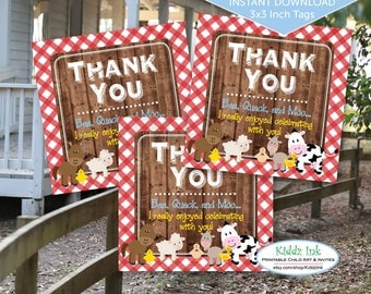 Barnyard Farm Animals Party Favor Thank You Tags for Birthday | Red Gingham and Barn Wood | 3x3 Inches | Digital Printable INSTANT DOWNLOAD