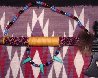 Native American Iroquois Peace Pipe Tomahawk Seed Bead Overlay