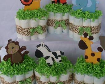 Set of 6 Mini Jungle Diaper Cakes,Safari Diaper Cake, Safari Baby Shower Centerpiece,Gender Neutral Diaper Cakes,