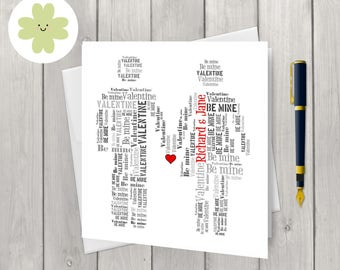 Mr and Mrs card, personalised wedding or anniversary card, customised card