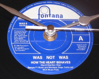 "Was not Was how the heart behaves 7"" vinyl record clock"