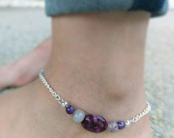 Amethyst, Agate, and Silver Anklet