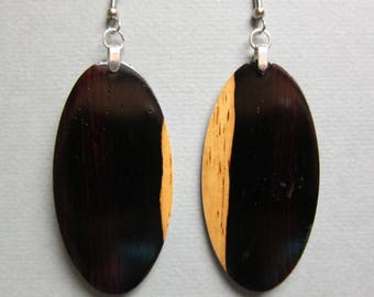 Unique Mexican Cocobola Exotic Wood Large Long Earrings Handcrafted repurposed ExoticWoodJewelryAnd