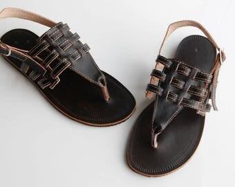 "SALE Womens Leather Sandals Flat Sandals Greek Style Sandals Leather Summer Sandals Genuine Leather Handmade Sandals""Kalina"" CSLF020"