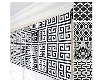Black White Geometric Window Valance.Greek Key Valance.Moroccan Valance Curtain.White Black Kitchen Valance.Black Damask Valance