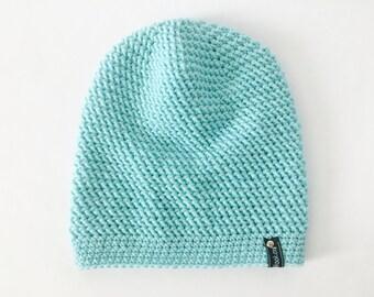 Crochet Slouchy Hat | Aqua | iLux Merino
