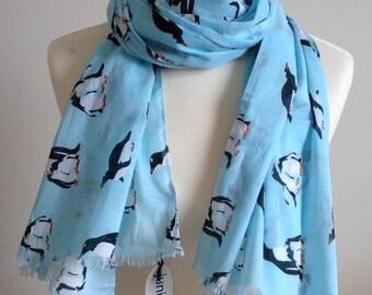 Penguin scarf - women's penguin print scarf - penguin wrap - penguin shawl - in 100% cotton