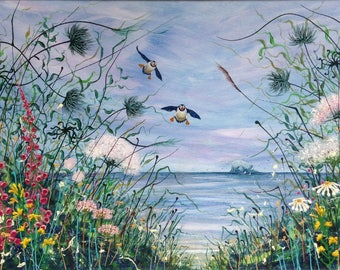 Summer Visitors. Puffin print. North Berwick. Scottish Seabirds. Seascape. Wildflowers