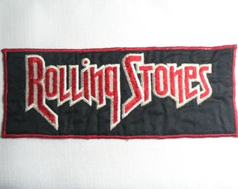 BIG Vintage 1970s Rolling Stones Embroidered Fabric Patch