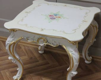 Table 60 x 60 coffee table coffee table white antique style Vp0876/00ACD